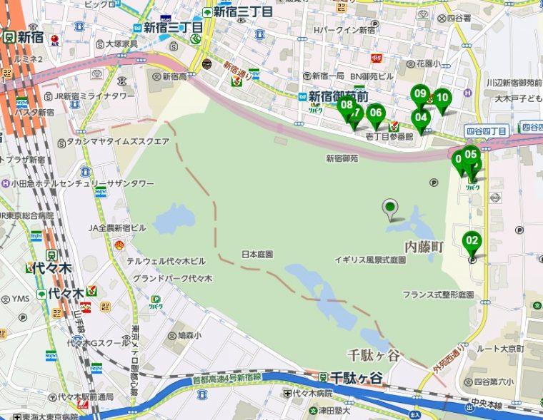 新宿御苑駐車場マップ