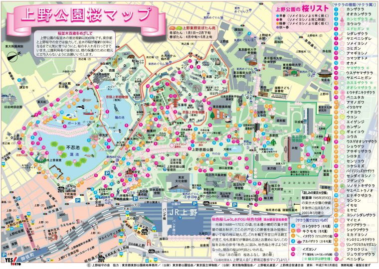 上野恩賜公園さくらマップ